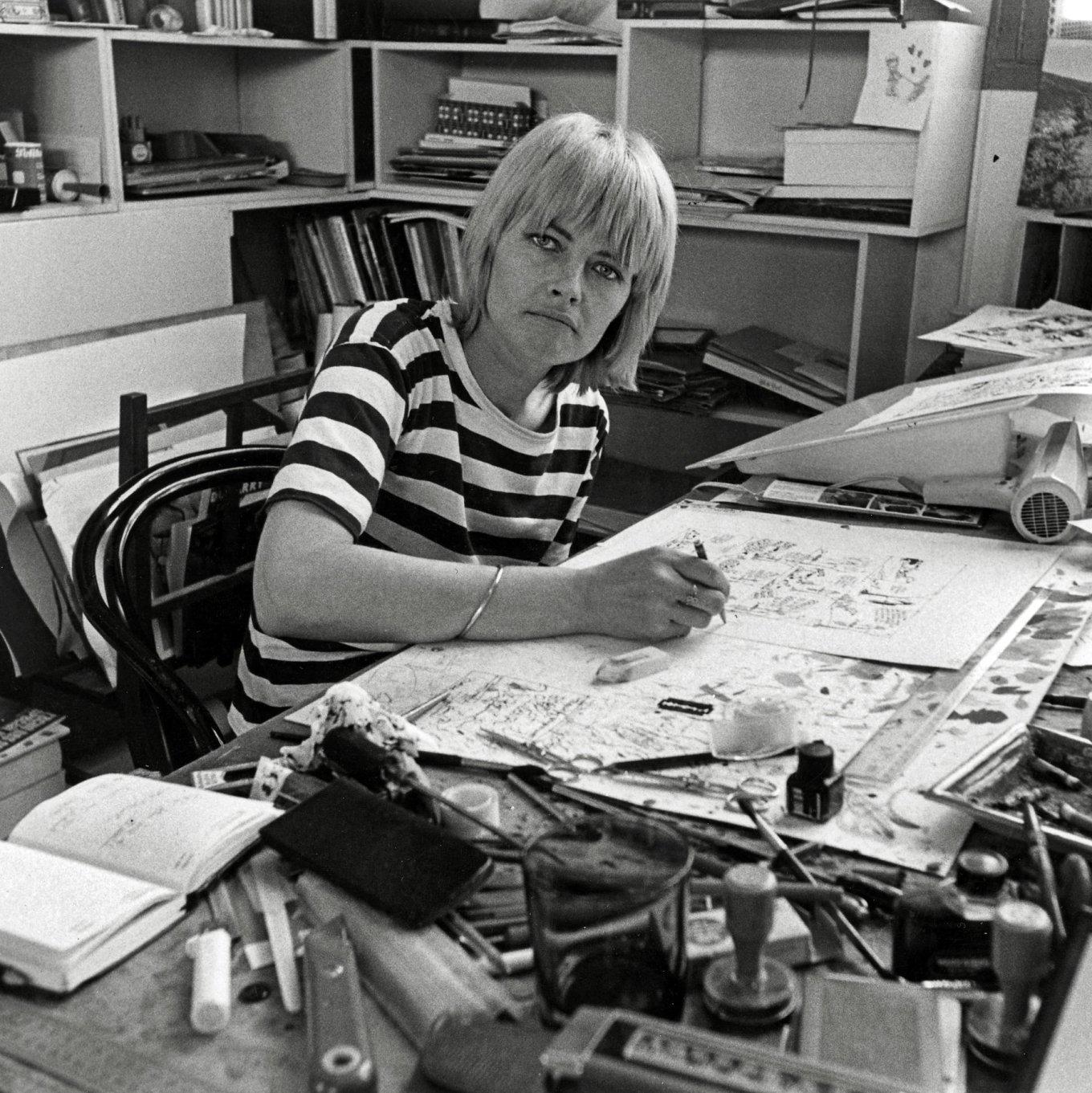 Claire Bretécher in her studio (1979)